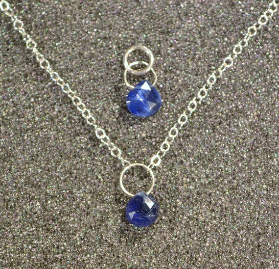 Genuine Tanzanite Faceted Briolette Necklace Or Pendant Dainty minimal simple layering December birthstone in sterling silver. You Choose
