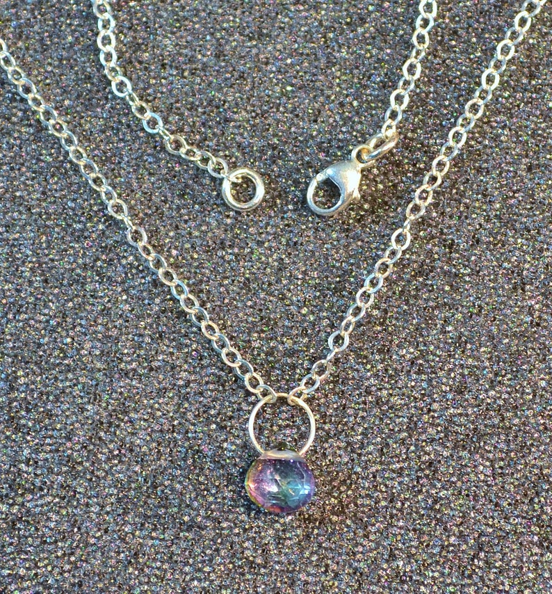 You Choose Dainty minimal simple layering iridescent faceted gem in silver. Genuine Mystic Topaz Faceted Briolette Necklace Or Pendant