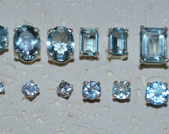Genuine Stone Aquamarine Stud Earrings In Sterling Silver - Choose a size!  March birthstone, post earring, no nickel and hypoallergenic.