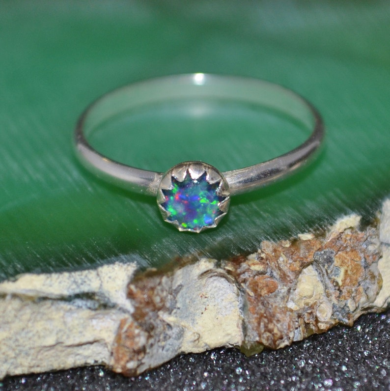 Sterling Silver 5 mm Cabochon Stacking Ring dainty nickel free and hypoallergenic. Choose a Gemstone minimal Genuine stone