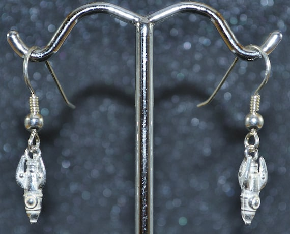 Cast Retro Rocket Charm Earrings Tiny Sterling Silver 3d Fantasy Outer Space Exploration Dangle Earrings Nickel Free And Hypoallergenic