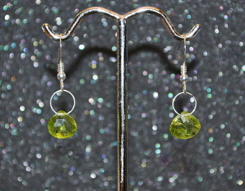 Hook Or Lever Back You Choose Dainty minimal simple green August birthstone in silver Genuine Peridot Larger Faceted Briolette Earrings