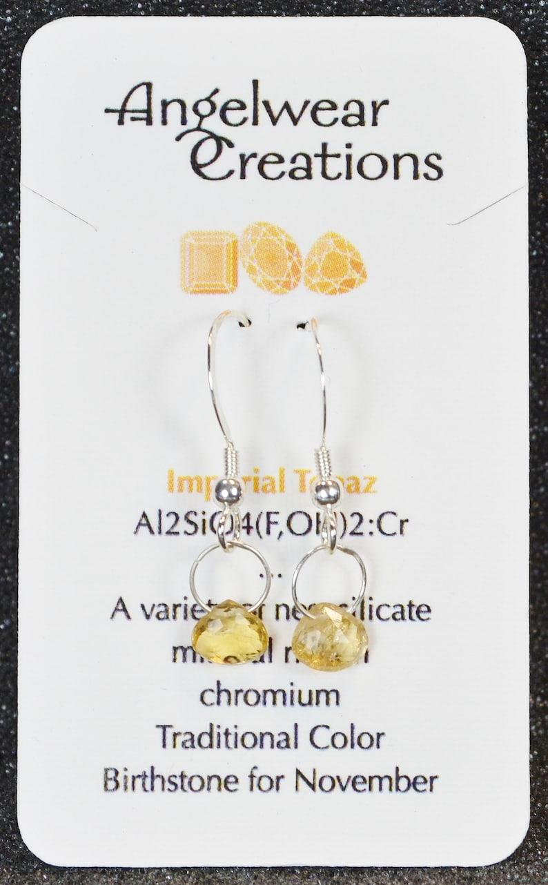 Genuine Imperial Topaz Faceted Briolette Earrings Dainty minimal simple November birthstones in silver. Hook Or Lever Back You Choose