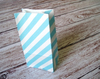 Party Favor Bags 10 Robins Egg Blue Striped SMALL Lunch Sack Wedding Gift Bag Birthday Treat Goodie