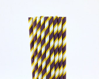 Yellow and Purple Striped Paper Straws-Striped Paper Straws-Graduation Party Decor-Purple Straws-Science Birthday Straws-Yellow Paper Straws