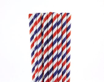 Red White and Blue Striped Paper Straws-Striped Straws-Red and Blue Straws-4th of July Party Straws-Patriotic Straws-Circus Party Straws