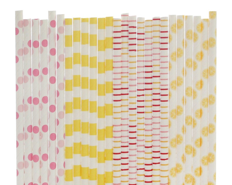 Girl First Birthday Pink and Yellow Paper Straws Girl Baby Shower Lemon Decorations Summer Birthday Pink Party Decor Lemon Paper Straws