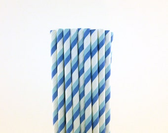 Light and Dark Blue Striped Paper Straws-Blue Straws-Striped Straws-Whale Party-Baby Shower Straws-Blue Party Decor-Fish Party Straws