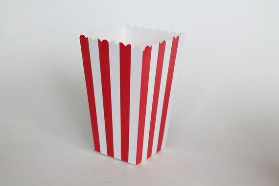 Red Striped Popcorn Box Pop Corn Scoop Red Favor Box Party Favor