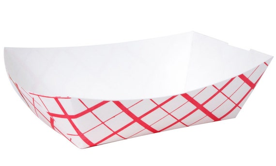 Red Plaid Paper Food Trays, 25 Extra Large Retro Paper Food Tray