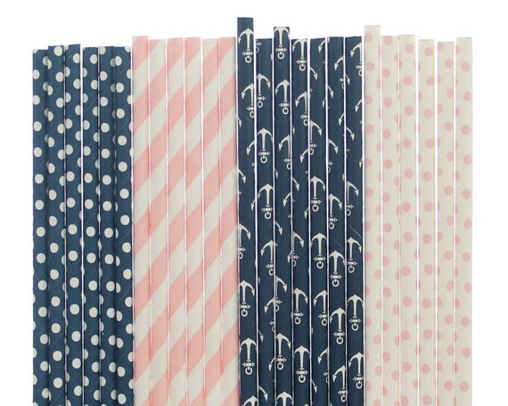 Pink Baby Shower Paper Drinking Straws //Gender Reveal Party Decoration Blue