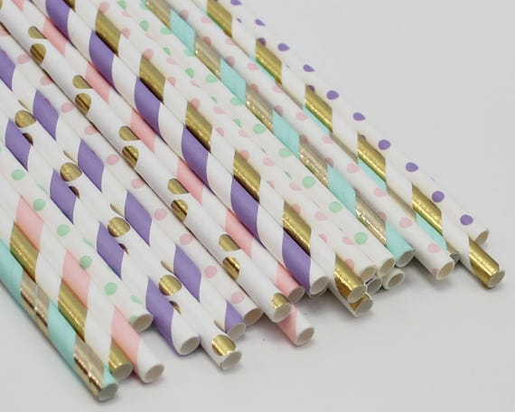 Unicorn Party Girl First Birthday Pastel Paper Straws Decor Baby Shower Little Decorations