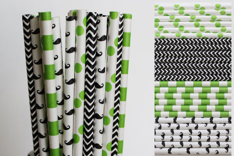 Lime Green and Black Mustache Paper Straw Mix-Rugby Striped Straws-Green Polka Dot Paper Straw-Black Chevron Straws-Mustache Party Straw