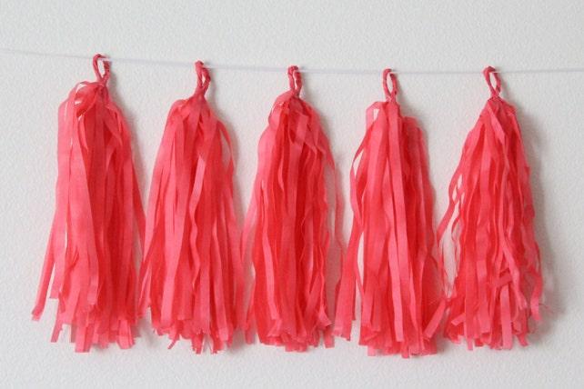Tissue Paper Tassel Garland DIY KIT-Watermelon Party Decor-Summer Party Tassels-Coral Paper Tassels-Tea Party Banner-Wedding Garland