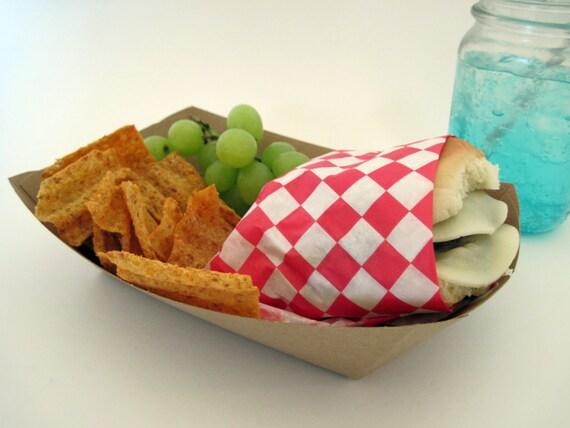 Paper Food Trays, 25 Large 3# lbs Kraft Paper Food Tray, Snack Box