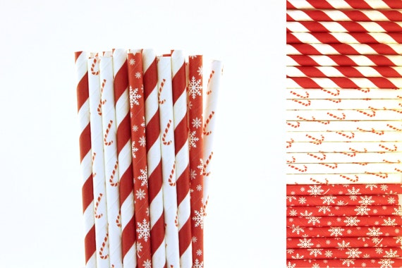 red and white candy cane paper straw mix red straws striped etsy