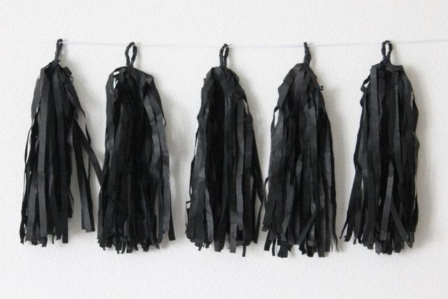 Tissue Paper Tassel Garland DIY KIT-Black Party Decor-Black Tassels-Party Garland-Wedding Decor-Black Tissue Paper Tassels-Black Banner