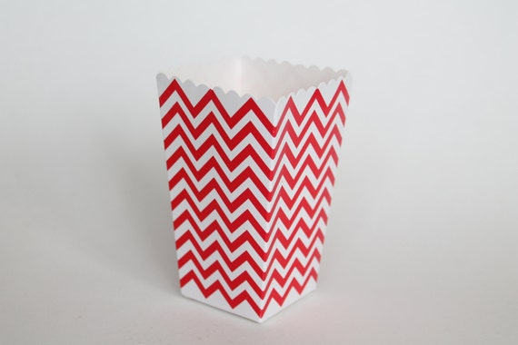 Red Chevron Popcorn Box Pop Corn Scoop Red Favor Box Party Favor