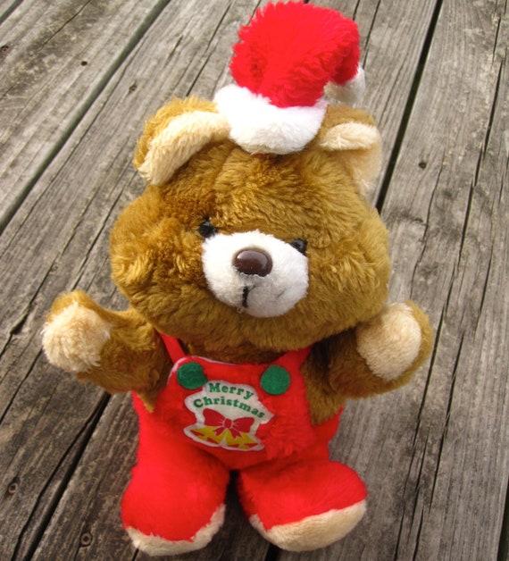 Merry Christmas Brown Teddy Bear Vtg 80s Plush Toy Stuffed Etsy