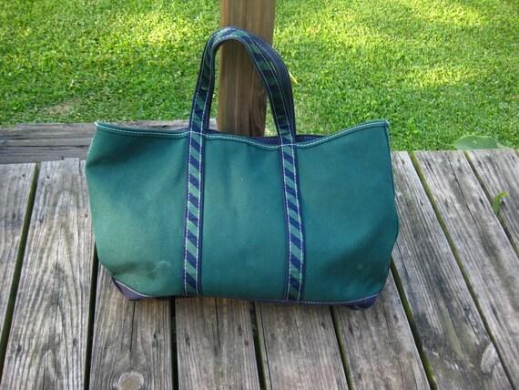 VTG LL Bean Tote Bag Navy and Green Boat Tote • La