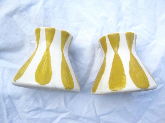 VTG Frank Mann Art Pottery Yellow Stripe MCM Candle Holders • Candlesticks • 1950s Vermont