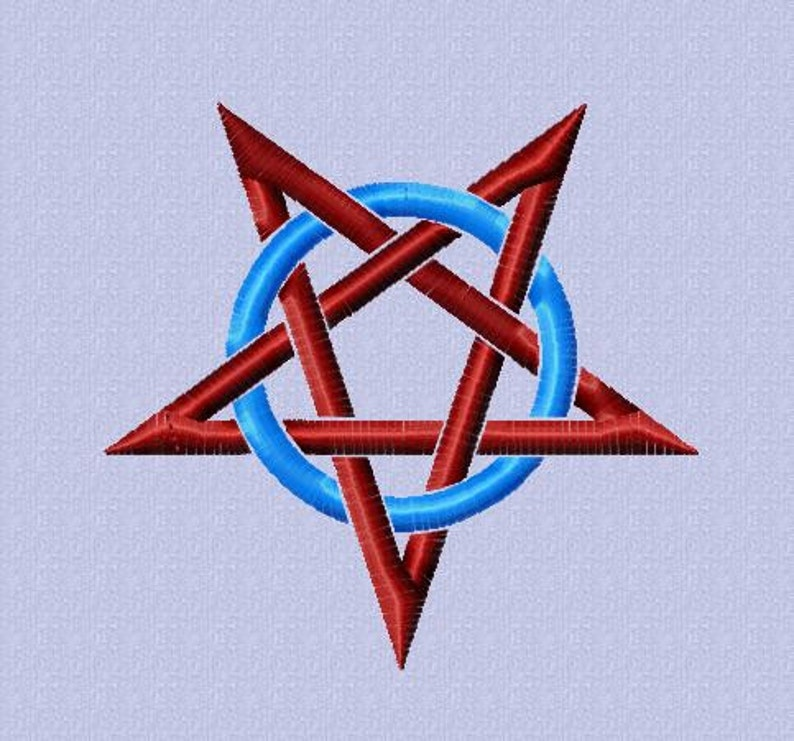 Embroidery pattern  Pentagram in circle  2 sizes image 0