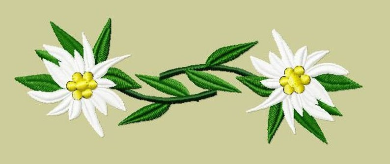Embroidery pattern  Pair of Edelweiss image 0