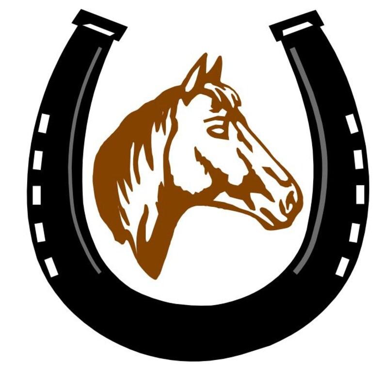 Embroidery pattern  horse & horseshoe  2 sizes image 0