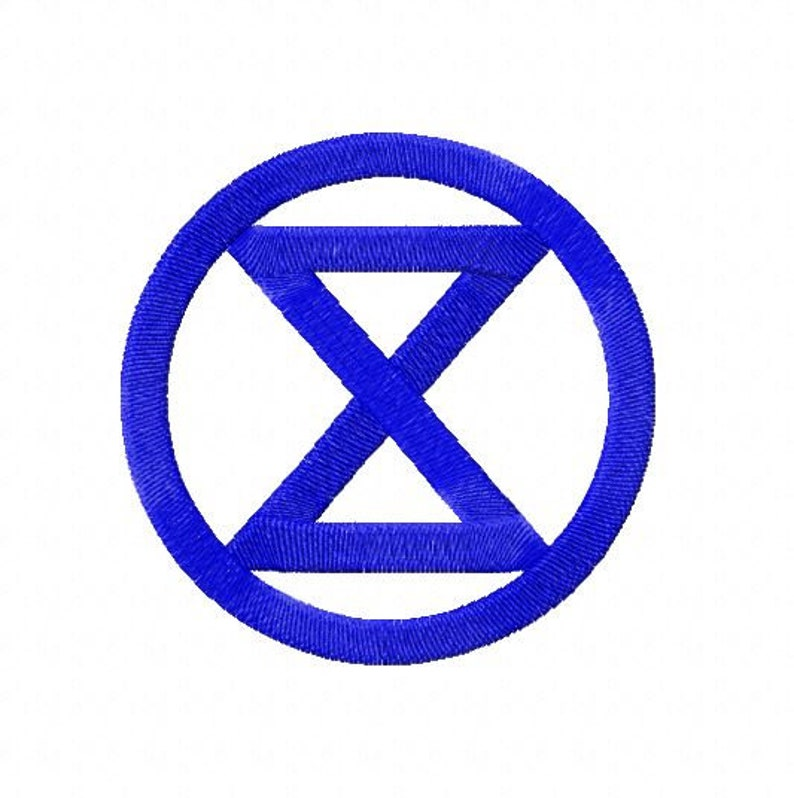 Embroidery pattern  Extinction Rebellion Logo in 4 sizes image 0