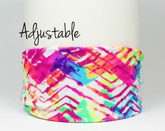 Yoga Headband | Adjustable Running Headband | Nonslip Fitness Headband | Sports Headband| Sweat Wicking | Fitness Gift || Abstract Neon