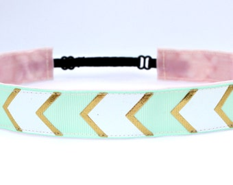 No Slip Headband | Adjustable Headband | Skinny Workout  Headband | Running Headband | Mint and gold chevron print Headband.