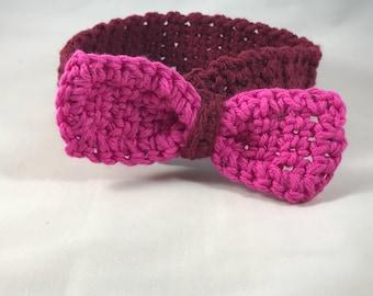 Baby bow headband, crocheted headband for baby.