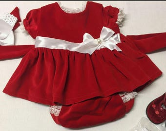Home-Made Baby GIRL Red VELVET Dress Vintage Pattern & Materials  *Size 0-3 Months*  *Vintage Recycled*