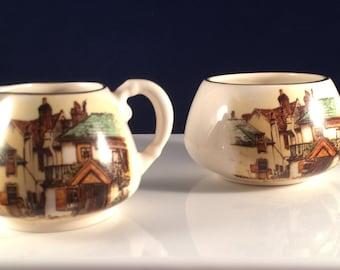 Vintage Sandland Ware Platinum Creamer and Sugar Bowl-Lancaster Made in England #afternoontea
