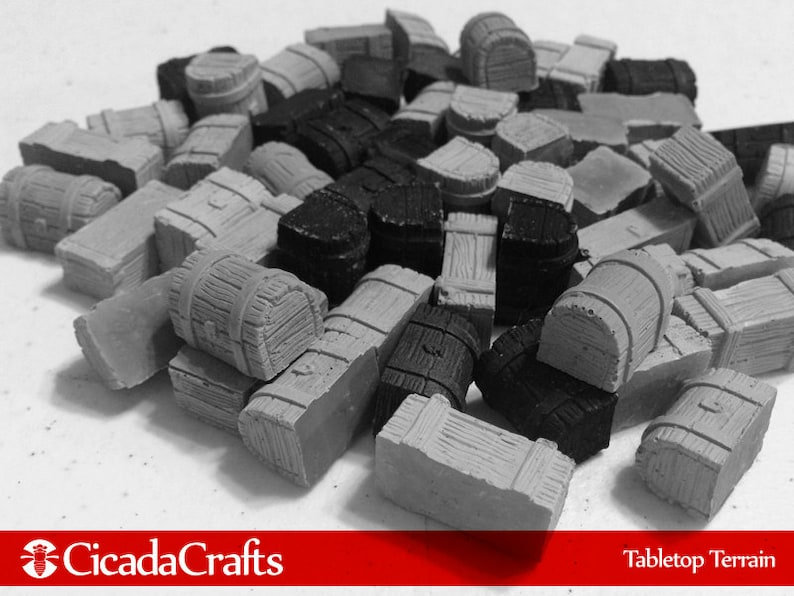 30 Battered Treasure Chests  Tabletop Gaming Miniatures for image 0