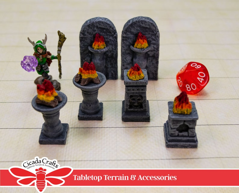 Set of Six Braziers Painted Plaster  for D&D Frostgrave image 0