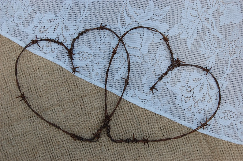 Entwined Barbed Wire Hearts Wedding Hearts Rustic Home Etsy