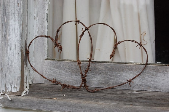 Pair Handcrafted Stars Rustic Western Wall Decor Rusty Barbed Wire Two 8 Inch