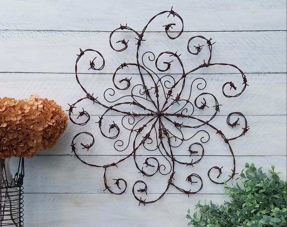 Barbed Wire Swirl Wrought Iron Swirl Barbed Wire Wall Decor   Etsy