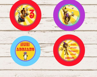 Madagascar Personalized Cupcake Toppers + Thank you card