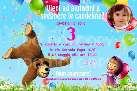 Masha and Bear Custom Birthday Party Invitation | Etsy