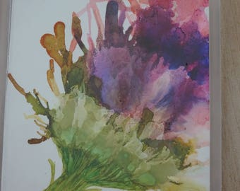 Flower painting, one of a kind art, alcohol ink, home decor
