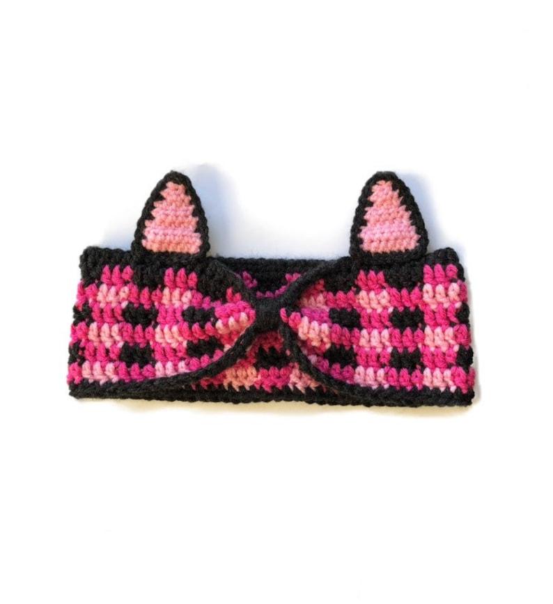 Plaid Winter Headband Pink Plaid Cat Ear Warmer Crochet Cat Ear Warmer