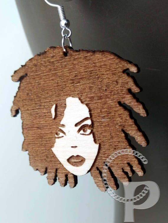 Laser cut acrylic Afro girl silhouette Africa locs earrings in black large sizes