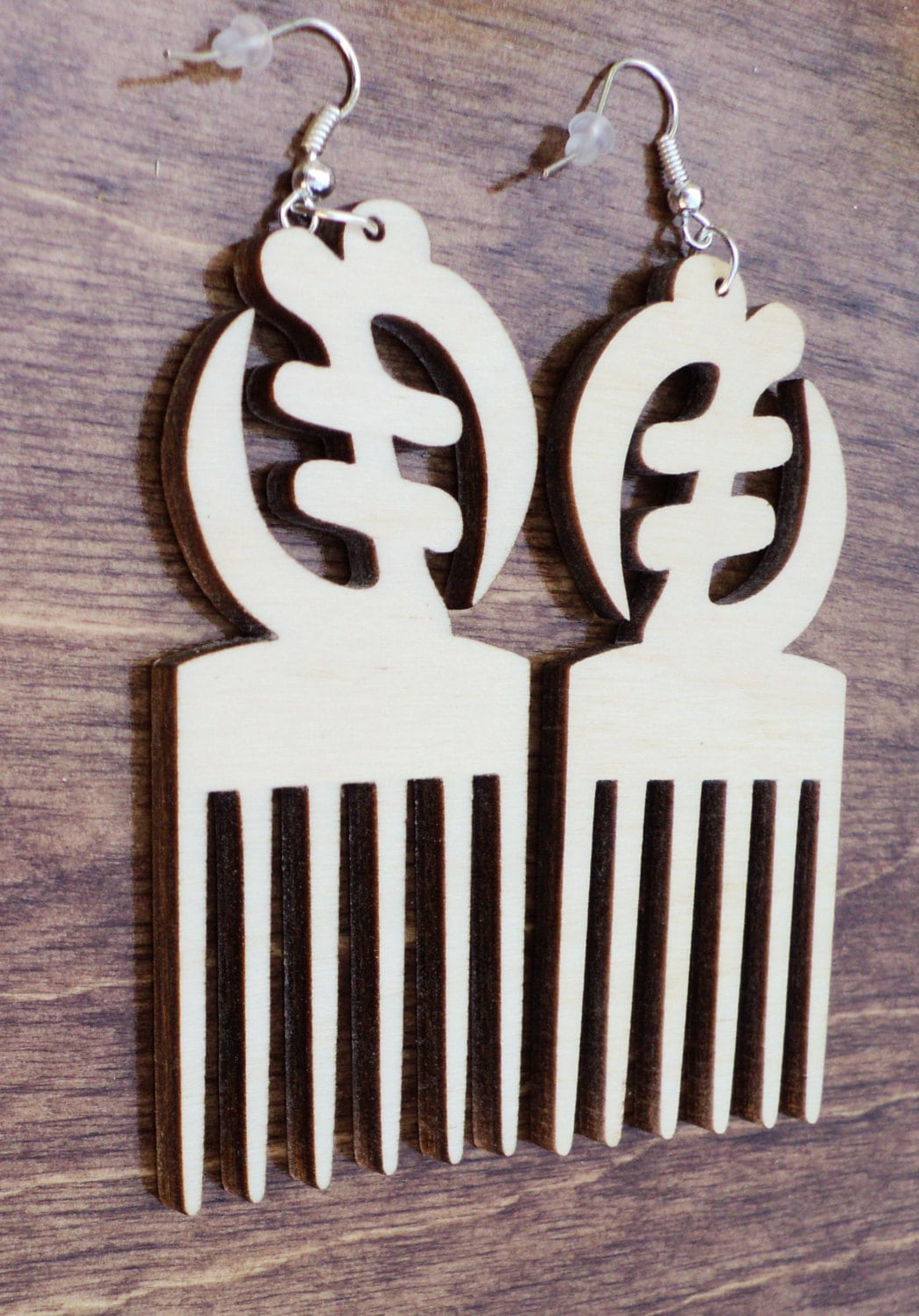 10 Pieces Wood Jewelry Wood Shapes DIY Unfinished Laser Cut Natural Wood Earrings Blanks Adinkra Gye Nyame Shape