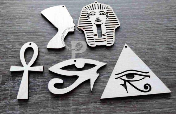 Ankh Égyptien Croix Boucles d/'oreilles Oeil de Horus Or Naturel En Bois Léger Large