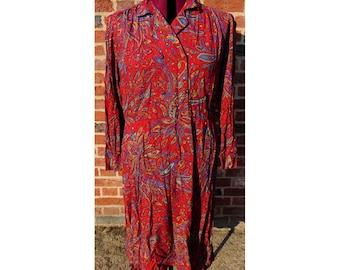Vintage Paisley Dress, 80s Dress, Double Breasted Dress, Shirt Dress, Boho Dress, Psychedelic Dress, Ethnic Dress, Hippie Dress, Hippy Dress