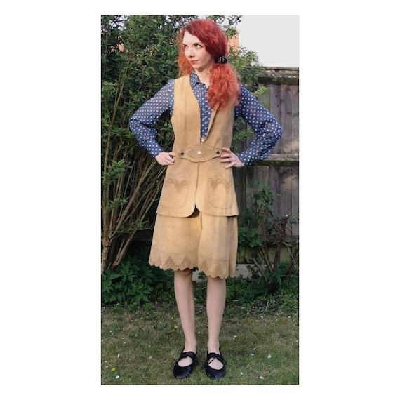 Vintage 70s Suede Skirt Set // Western Two Piece /