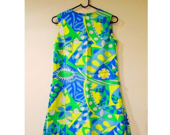 Vintage Psychedelic Dress, 60s Dress, Hippie Dress, Hippy Dress, A Line Dress, Mod Dress, Flower Power Dress, Sixties Dress, 1960s
