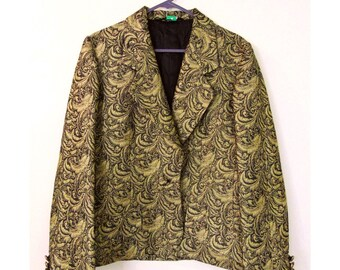 Vintage Evening Jacket, Blazer, 80s Jacket, 90s Jacket, Damask Print, Psychedelic Jacket, Disco, Glam Rock, Black And Gold, Baroque